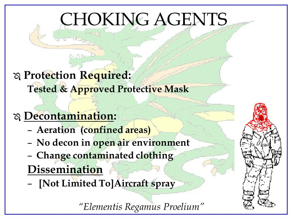 CHOKING AGENTS Protection Required: Decontamination: Dissemination