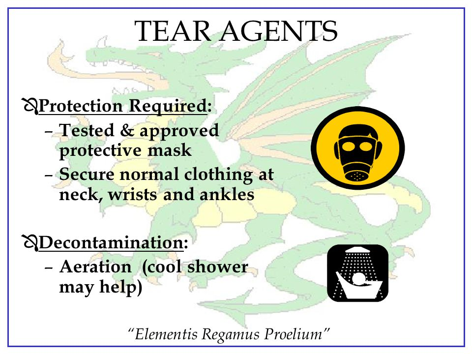 TEAR AGENTS Protection Required: Tested & approved protective mask