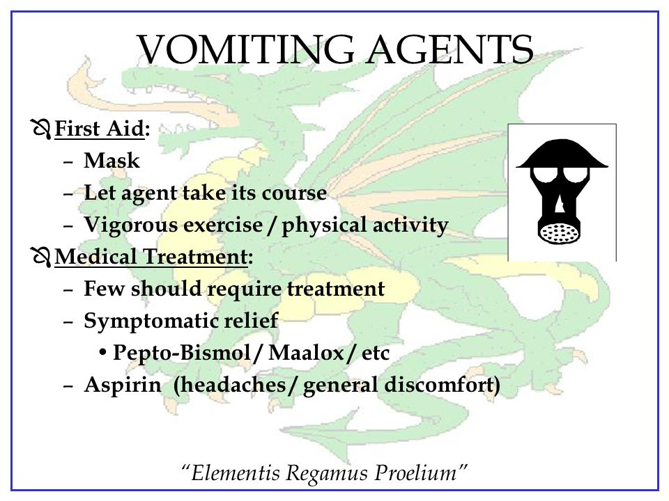 VOMITING AGENTS First Aid: Mask Let agent take its course