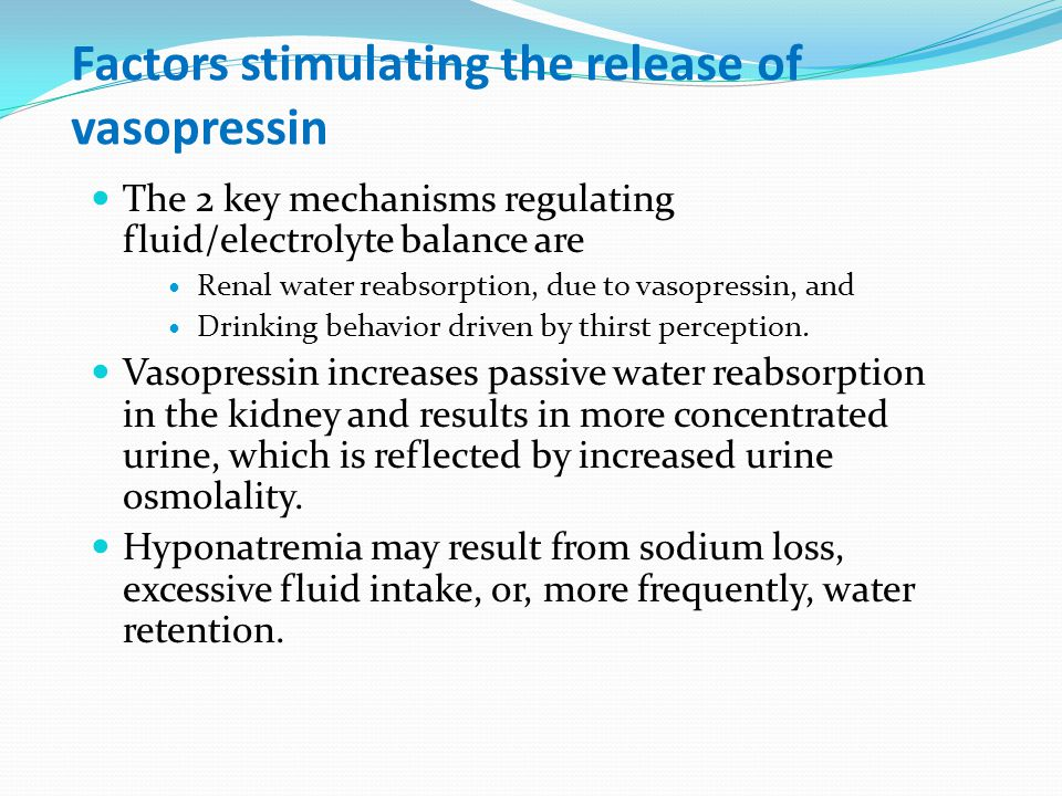 Factors stimulating the release of vasopressin