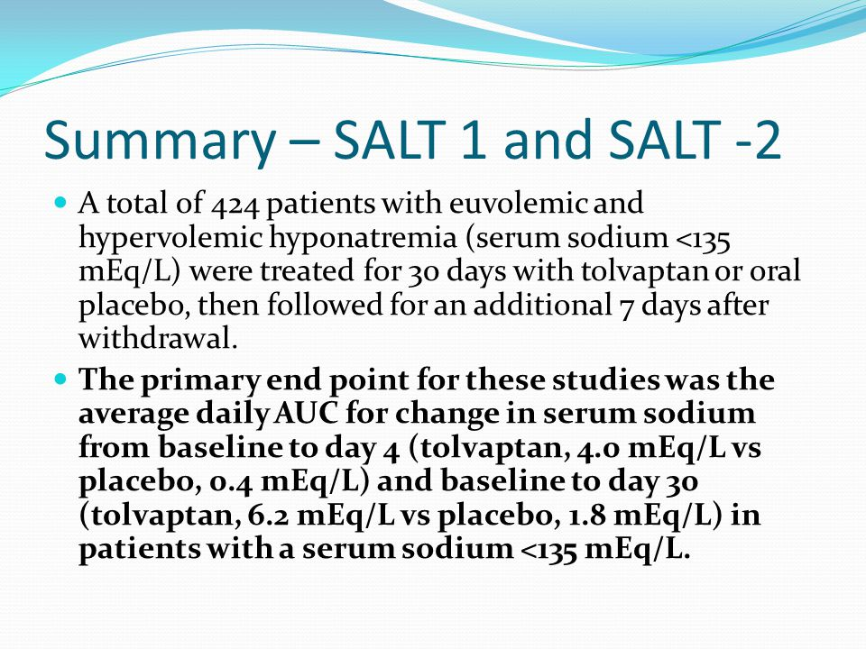 Summary – SALT 1 and SALT -2