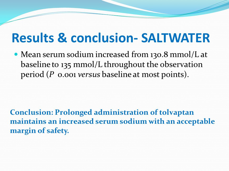 Results & conclusion- SALTWATER