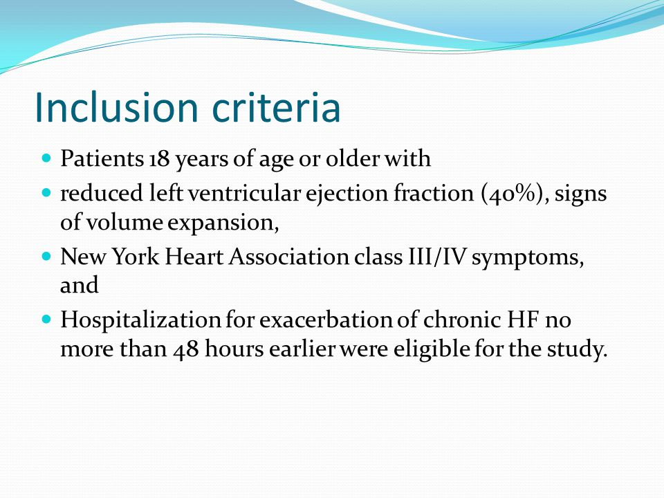 Inclusion criteria Patients 18 years of age or older with