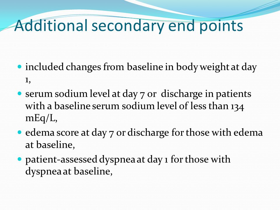 Additional secondary end points