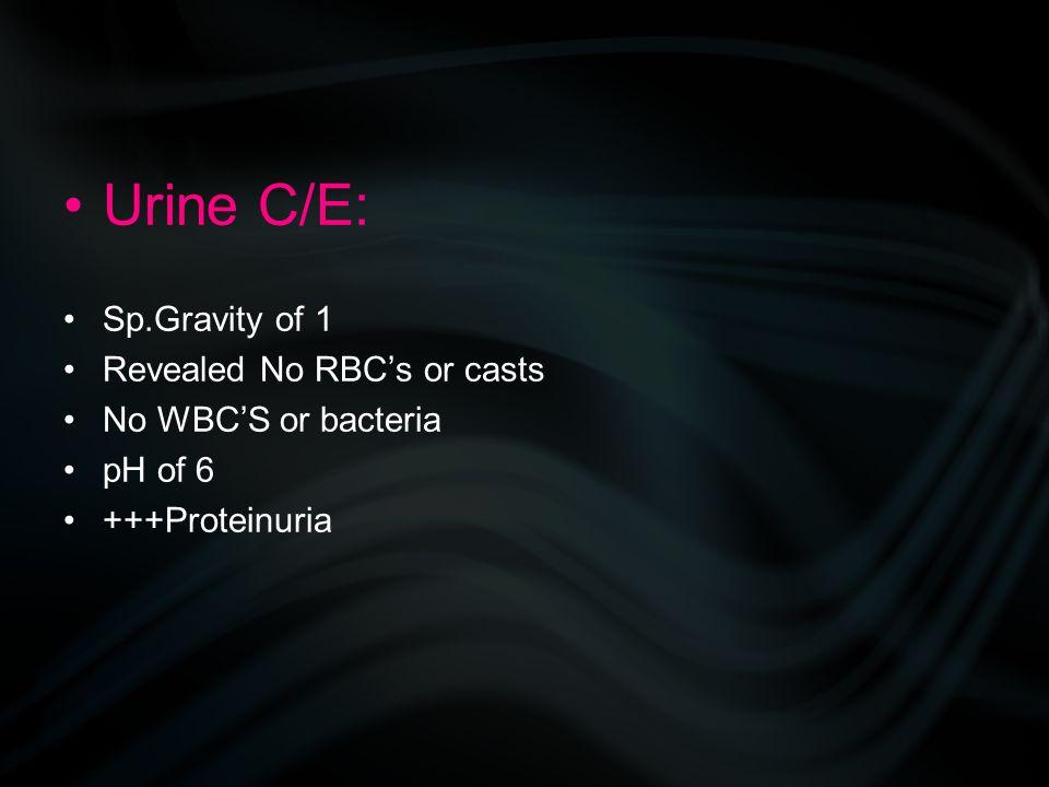 Urine C/E: Sp.Gravity of 1 Revealed No RBC's or casts