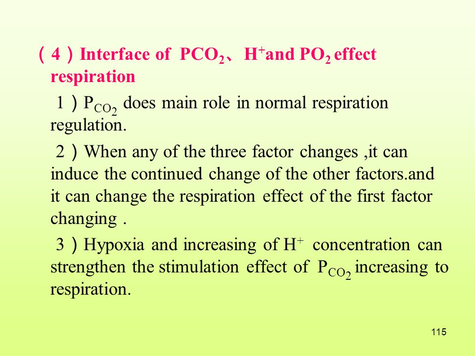 (4)Interface of PCO2、H+and PO2 effect respiration