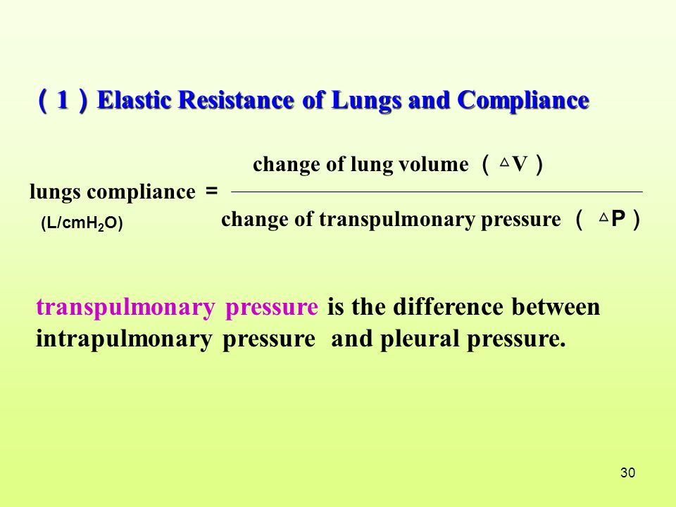 (1)Elastic Resistance of Lungs and Compliance