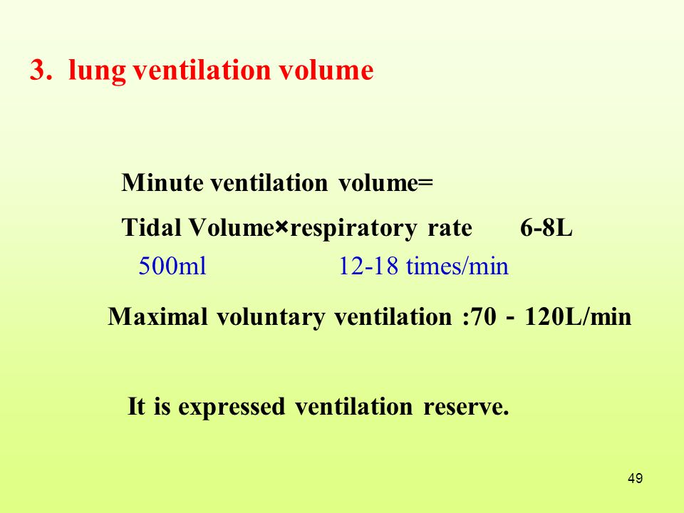 3. lung ventilation volume