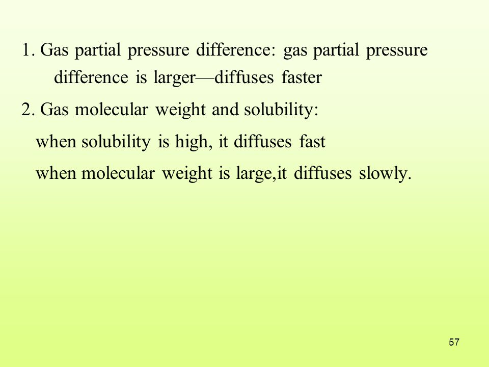 1. Gas partial pressure difference: gas partial pressure difference is larger—diffuses faster