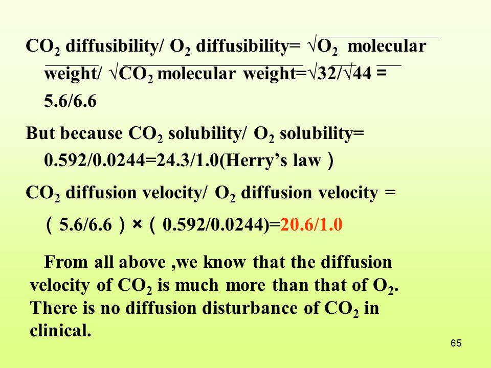 CO2 diffusibility/ O2 diffusibility= √O2 molecular weight/ √CO2 molecular weight=√32/√44=5.6/6.6