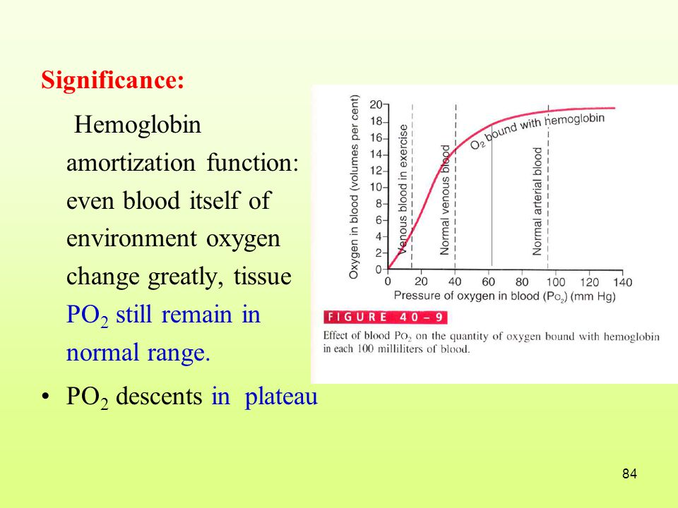 Significance: Hemoglobin amortization function: even blood itself of environment oxygen change greatly, tissue PO2 still remain in normal range.