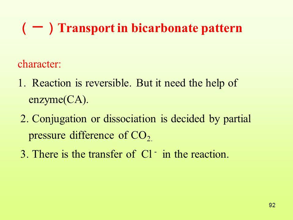 (一)Transport in bicarbonate pattern