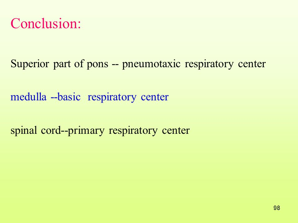 Conclusion: Superior part of pons -- pneumotaxic respiratory center