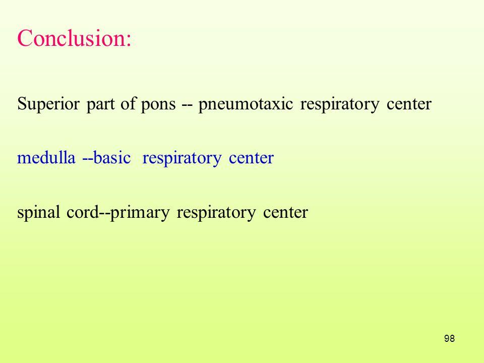 Conclusion: Superior part of pons -- pneumotaxic respiratory center
