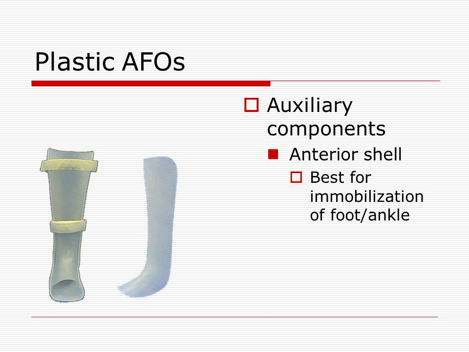 Plastic AFOs Auxiliary components Anterior shell