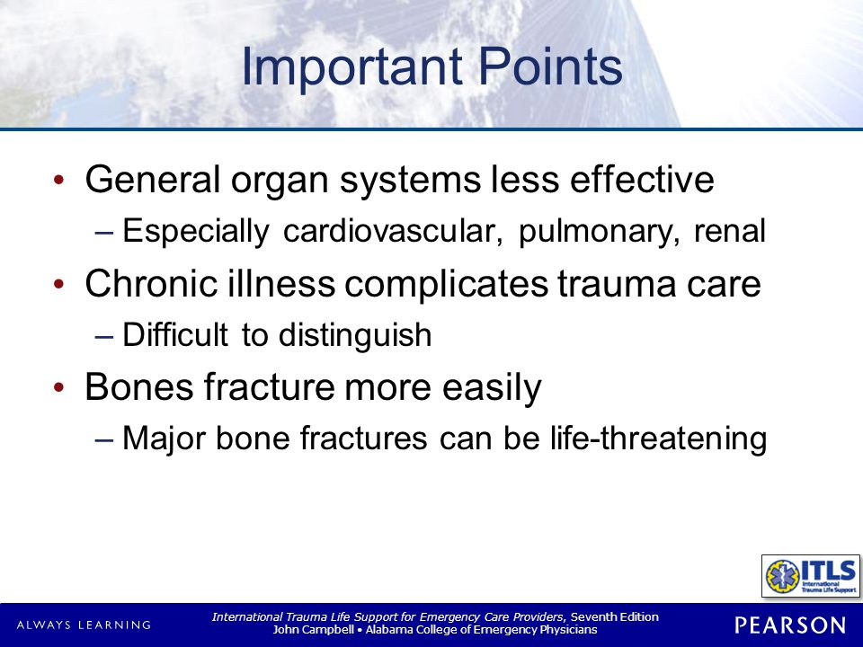 Assessment Do not underestimate severity Die from less-severe injuries