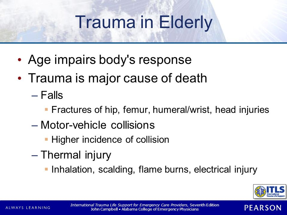 Trauma in Elderly Higher risk of injury Reflex response time increased