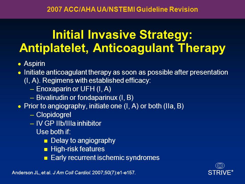 Initial Invasive Strategy: Antiplatelet, Anticoagulant Therapy