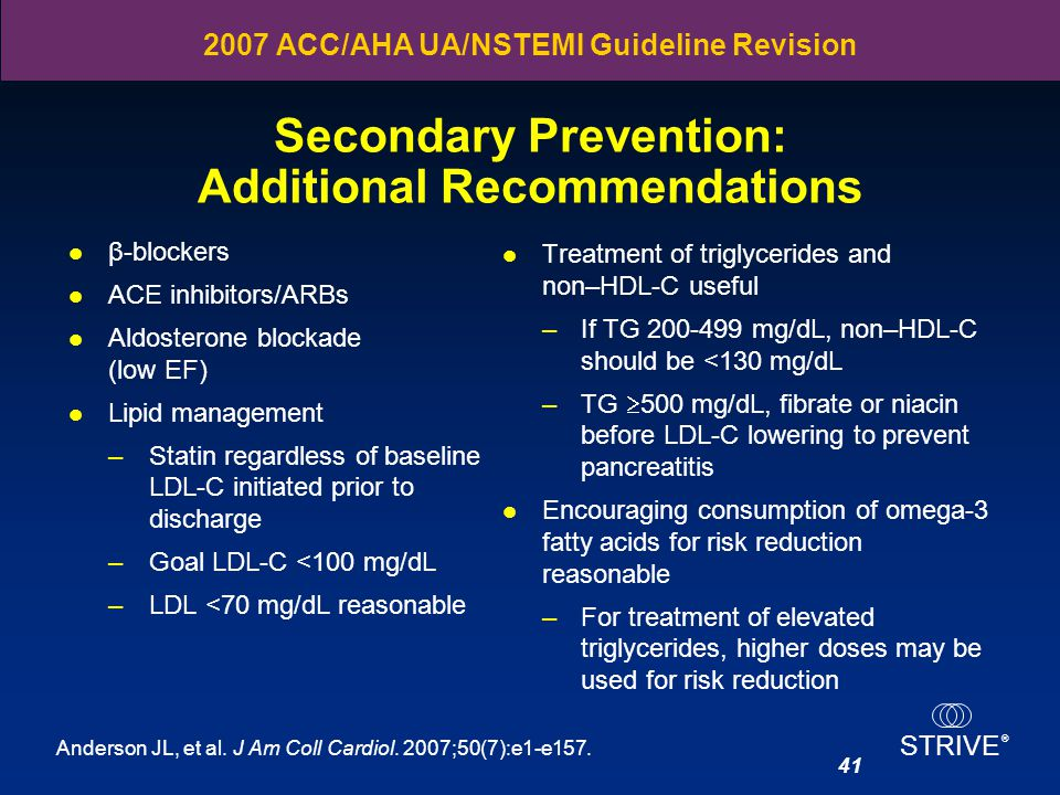 Secondary Prevention: Additional Recommendations