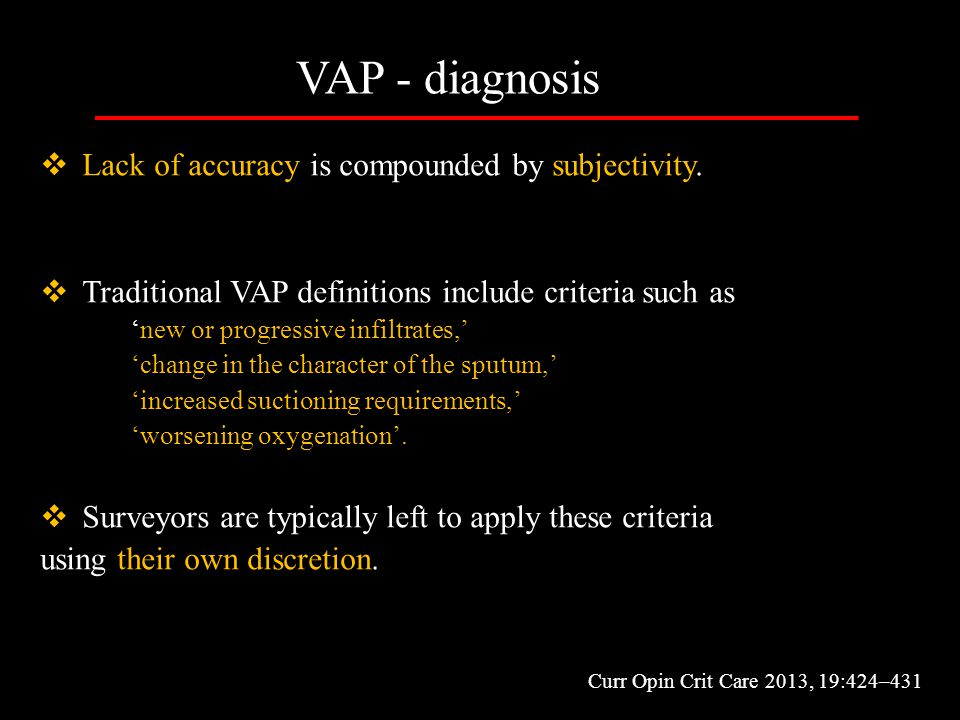VAP - diagnosis Lack of accuracy is compounded by subjectivity.