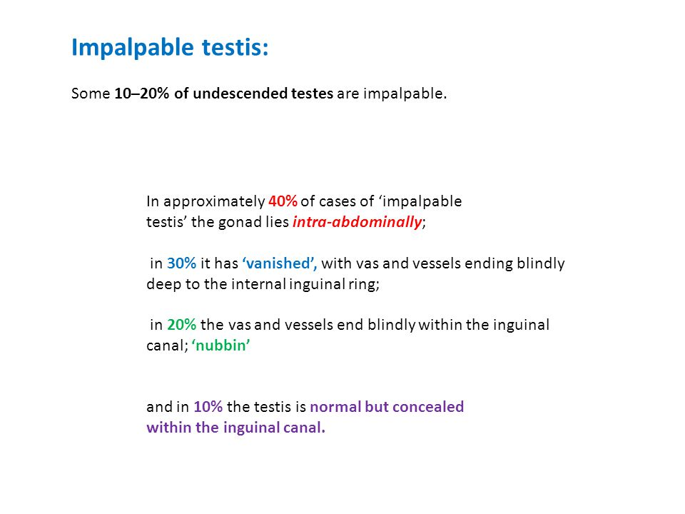 Impalpable testis: Some 10–20% of undescended testes are impalpable.