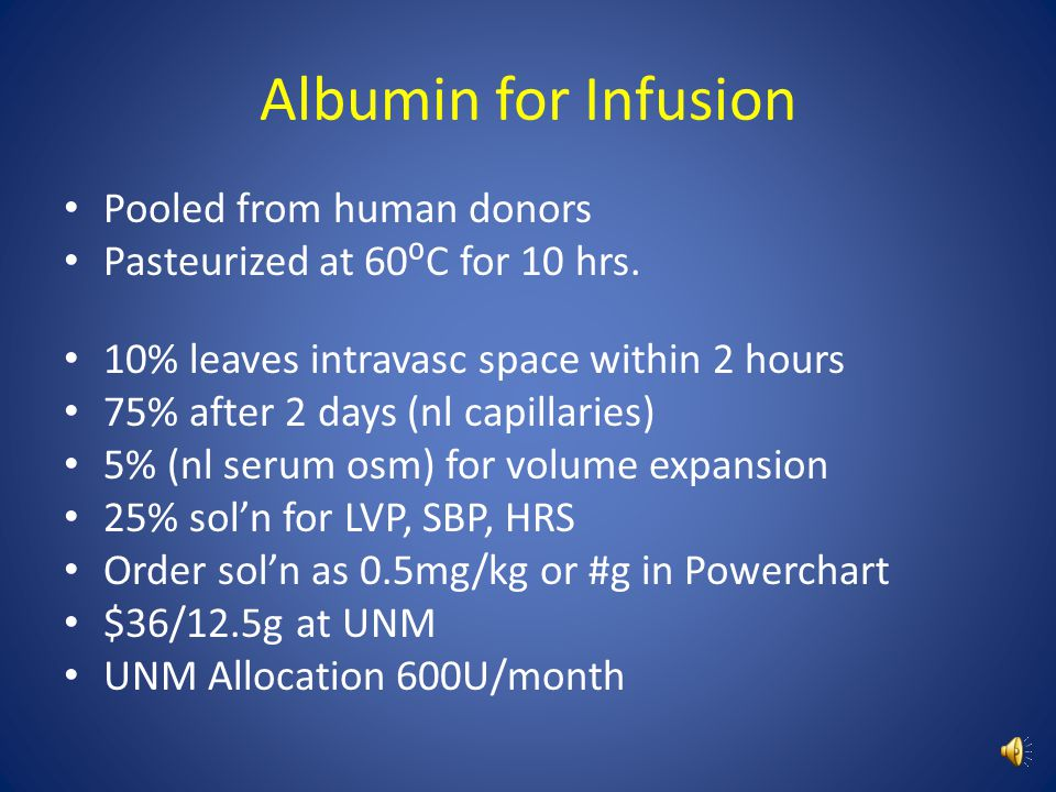 Albumin for Infusion Pooled from human donors