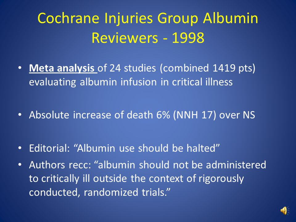 Cochrane Injuries Group Albumin Reviewers - 1998