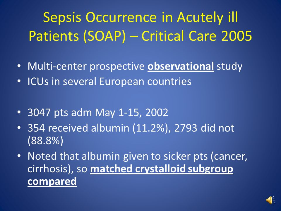 Sepsis Occurrence in Acutely ill Patients (SOAP) – Critical Care 2005