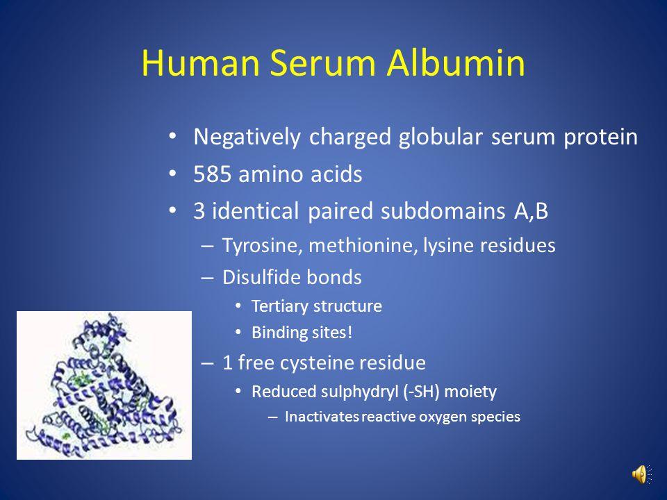 Human Serum Albumin Negatively charged globular serum protein