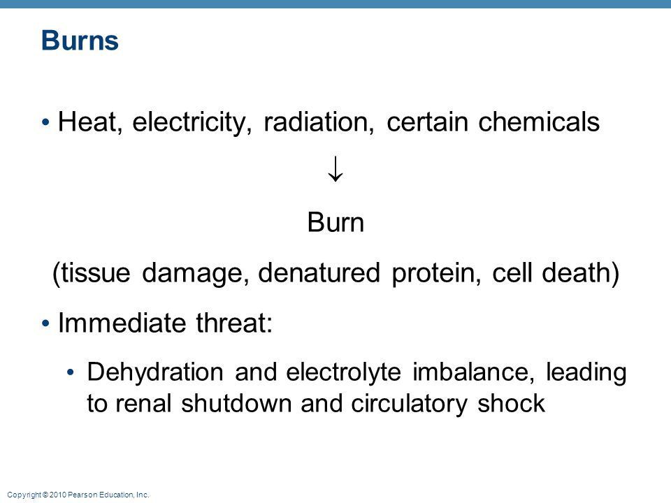 (tissue damage, denatured protein, cell death)