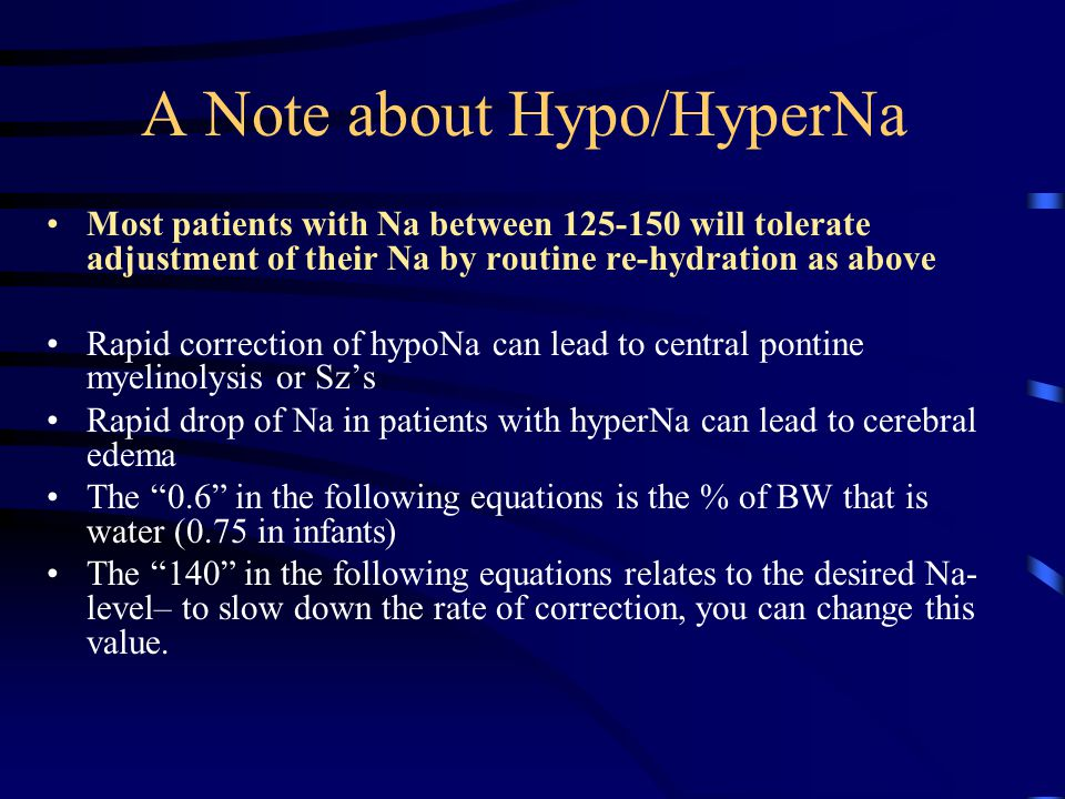 A Note about Hypo/HyperNa
