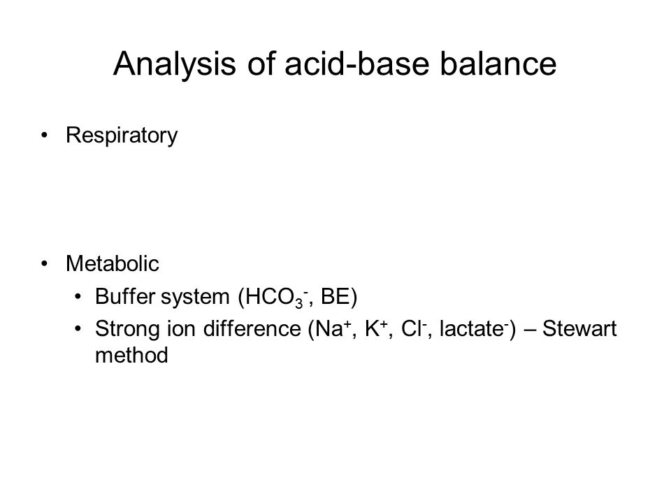 Analysis of acid-base balance