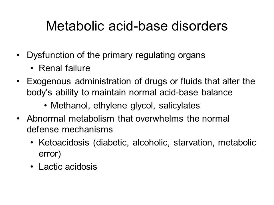 Metabolic acid-base disorders