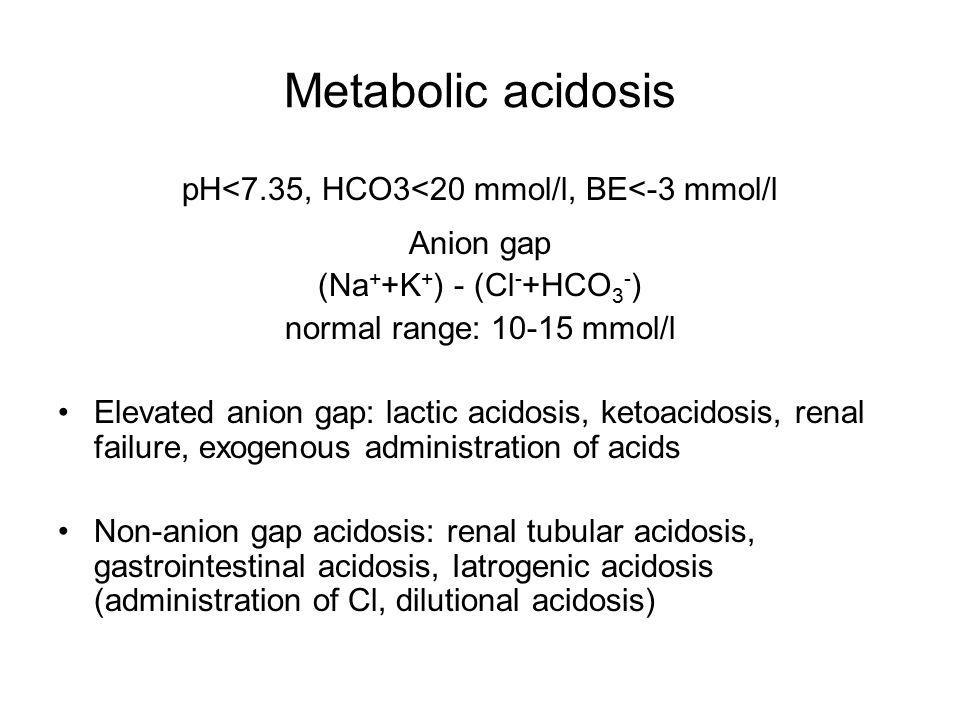 pH<7.35, HCO3<20 mmol/l, BE<-3 mmol/l