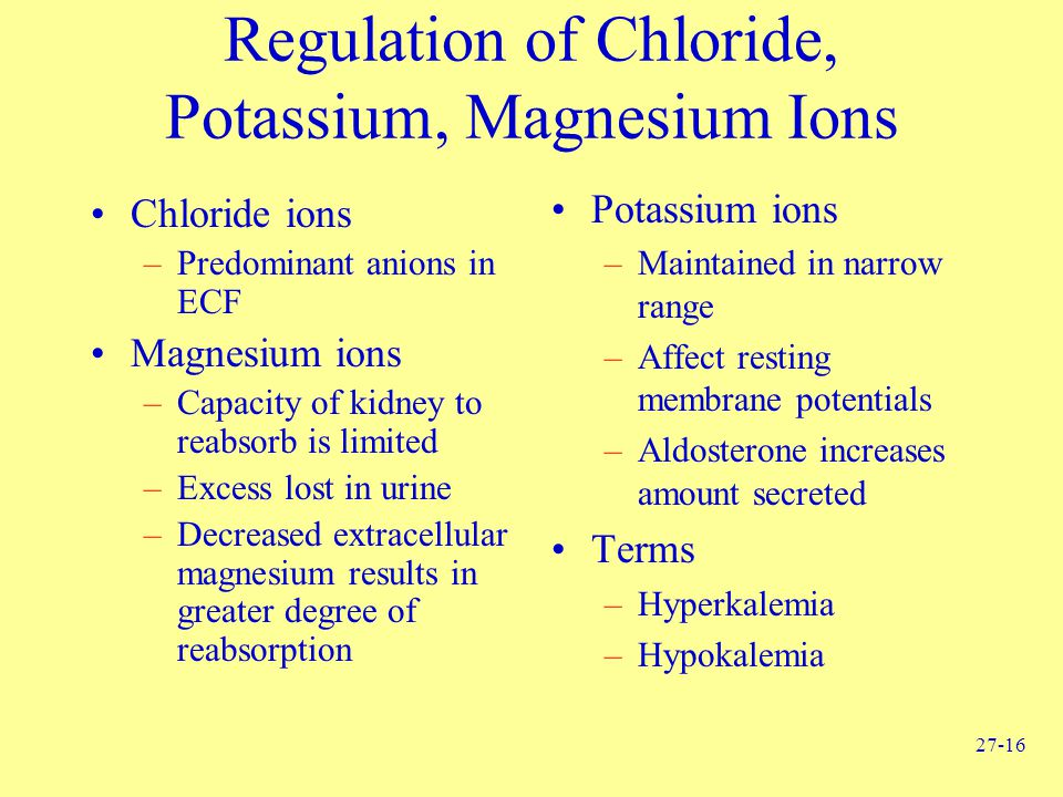 Regulation of Chloride, Potassium, Magnesium Ions