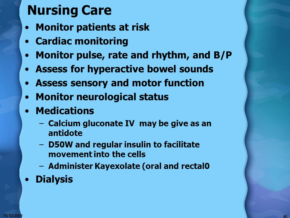 Nursing Care Monitor patients at risk Cardiac monitoring