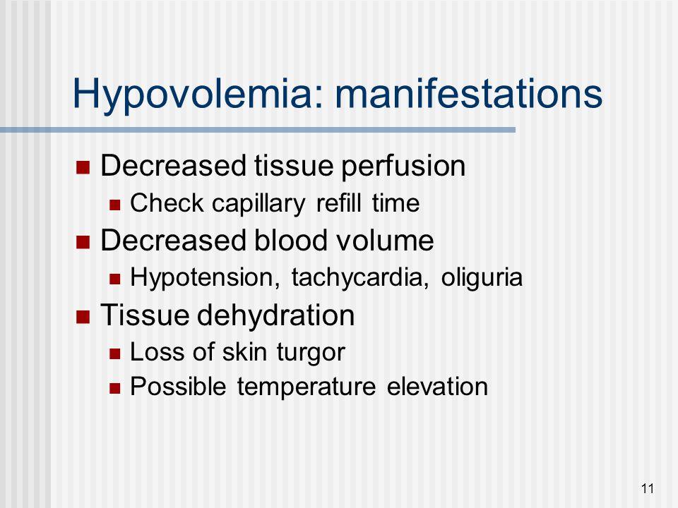 Hypovolemia: manifestations