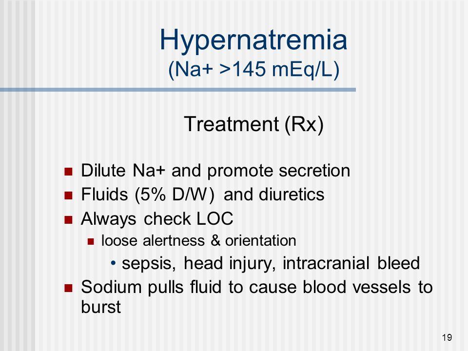 Hypernatremia (Na+ >145 mEq/L)