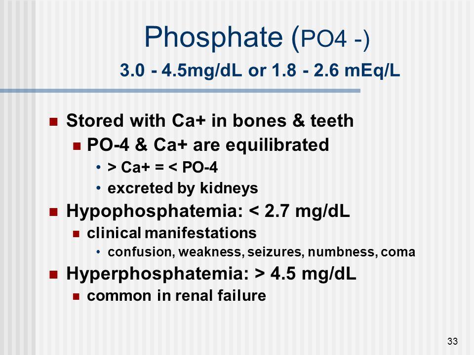 Phosphate (PO4 -) 3.0 - 4.5mg/dL or 1.8 - 2.6 mEq/L