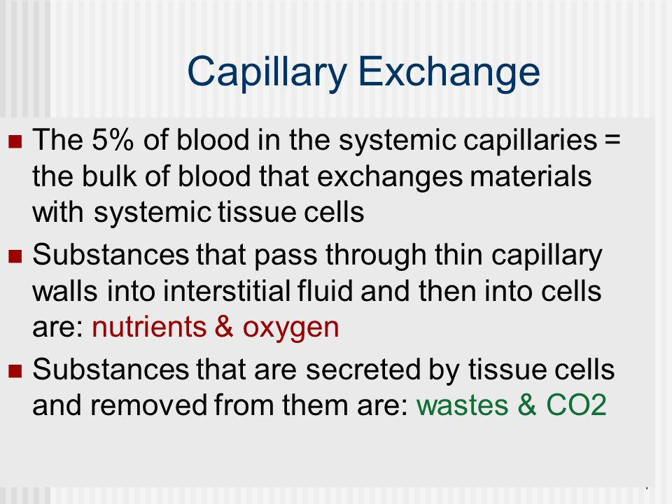 Capillary Exchange The 5% of blood in the systemic capillaries = the bulk of blood that exchanges materials with systemic tissue cells.