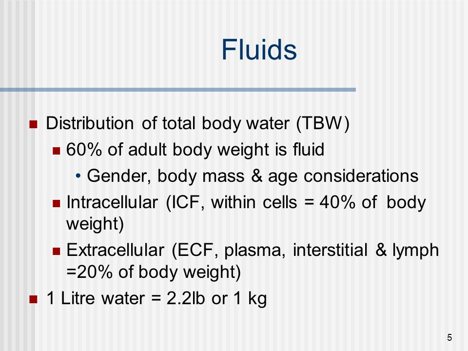 Fluids Distribution of total body water (TBW)