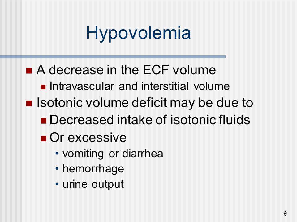 Hypovolemia A decrease in the ECF volume