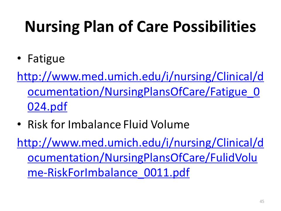 Nursing Plan of Care Possibilities