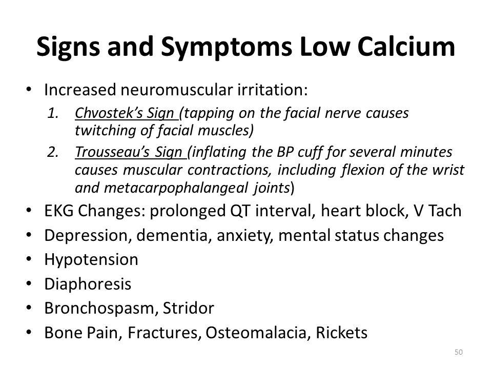 Signs and Symptoms Low Calcium