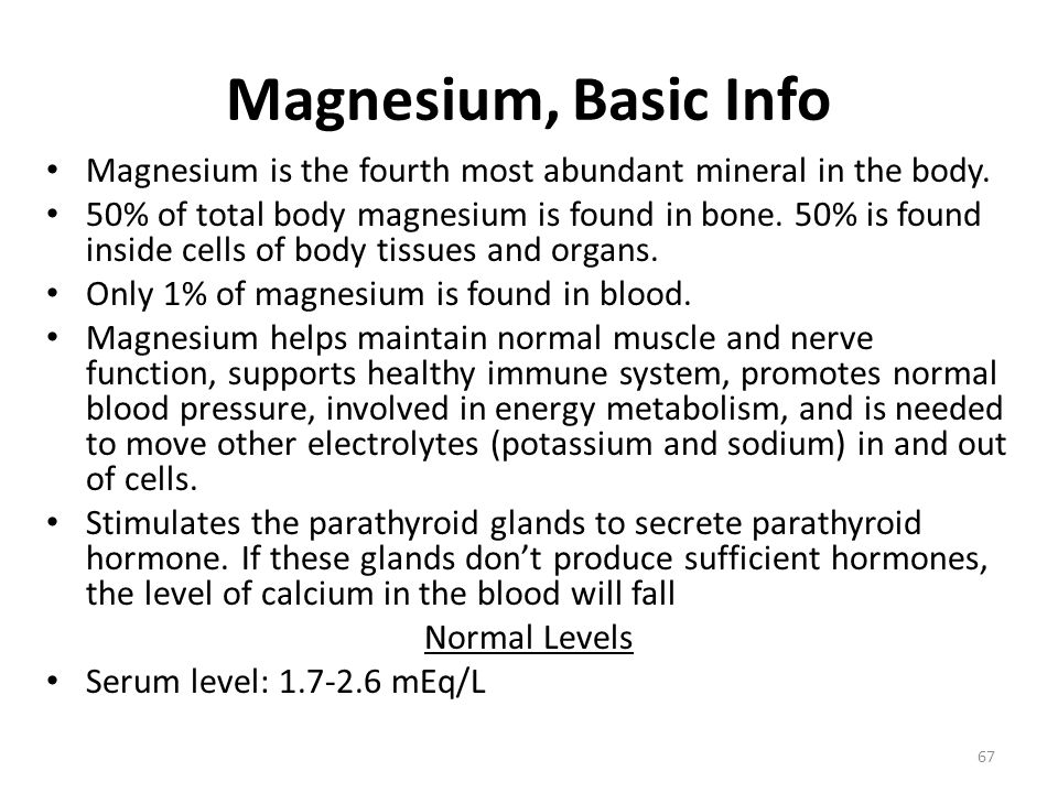 Magnesium, Basic Info Magnesium is the fourth most abundant mineral in the body.