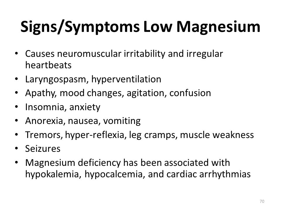 Signs/Symptoms Low Magnesium