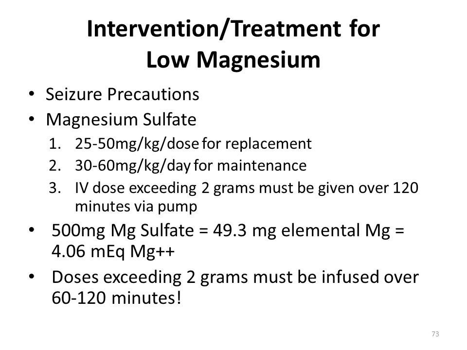 Intervention/Treatment for Low Magnesium