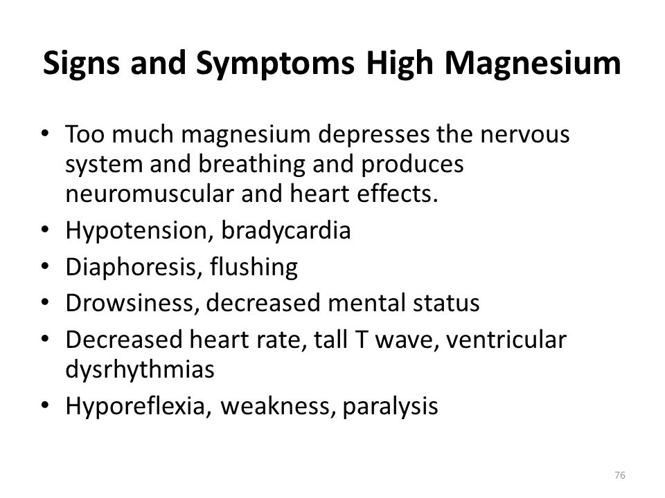 Signs and Symptoms High Magnesium