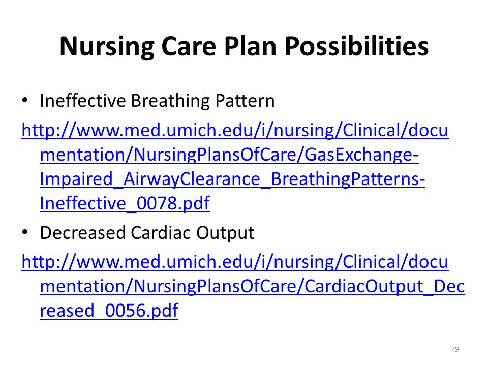 Nursing Care Plan Possibilities