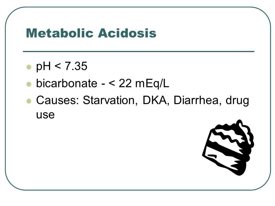 Metabolic Acidosis pH < 7.35 bicarbonate - < 22 mEq/L